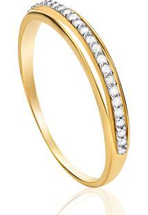 Anel Em Ouro Amarelo 18K Com Diamante - Vitoria 14