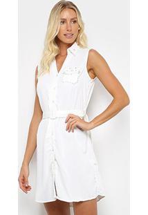 Vestido Sofia Fashion Chemise Curto Pérola - Feminino-Branco