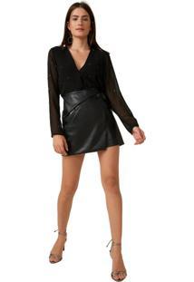 Mini Saia Leather Transpassada