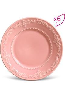 Jogo De Pratos Para Sobremesa Acanthus- Rosa- 6Pçs