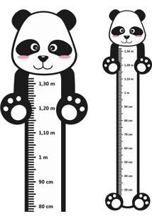 Adesivo Régua De Crescimento Panda Com Patas