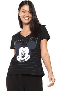 Camiseta Cativa Disney Bordada Preta