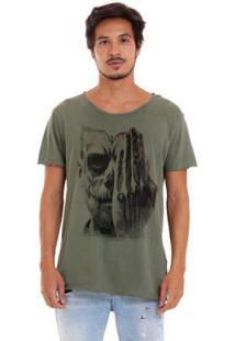 Camiseta Estonada Corte À Fio Catrina Olhos Masculina - Masculino