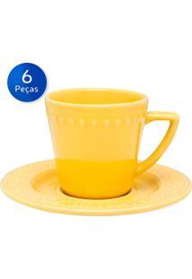 Conjunto De Xícaras Para Chá Com Pires 6 Peças Mendi Sicilia - Oxford - Amarelo