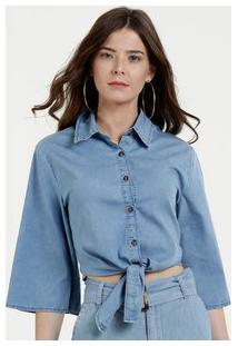 Camisa Feminina Jeans Nó Manga 7/8 Marisa