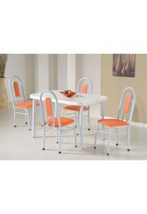Conjunto De Mesa Com 4 Cadeiras Orquídea Branco