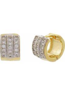 Brinco Narcizza Semijoias Argolinha Fechada Cravejado Com Micro Zircônia Cristal Ouro