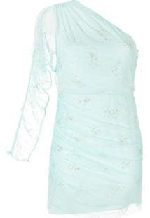 Manning Cartell Vestido De Um Ombro Só Com Tule - Azul