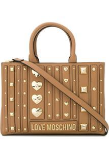 Love Moschino Bolsa Tote Com Tachas - Marrom