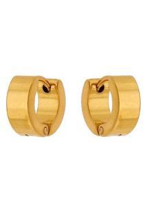 Brinco Argola De Aço Inox Tudo Jóias Modelo Reto Dourado