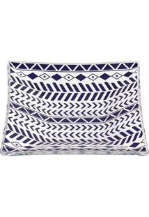 Conjunto Petisqueiras Em Vidro Le Casa Solar Com 3 Peças Retangular Azul Marinho