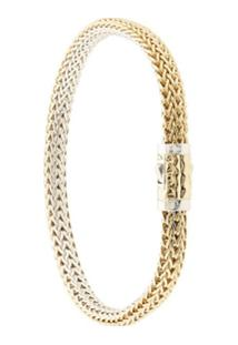John Hardy Pulseira Classic Chain Dupla Face De Ouro 18Kt Com Diamante - Dourado