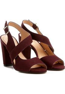 Sandália Couro Shoestock Salto Grosso Feminina - Feminino