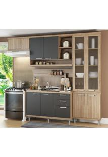 Cozinha Completa Multimóveis Com 5 Peças Sicília 5816 Argila/Grafite