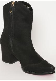 Ankle Boot Em Couro Com Bordado- Preta & Dourada- Sacarmen Steffens