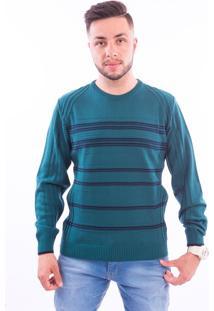 Blusa G'Dom Verde Listra Marinho (Verde, P)