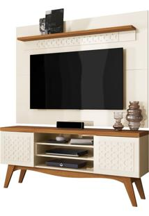Rack Bancada Lis 02 Portas Com Painel Para Tv Win New Sala De Estar Off White/Coral - Frade Movelaria - Off-White - Dafiti