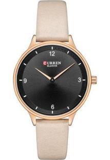 Relógio Curren Analógico C9039L Feminino - Feminino-Preto+Bege