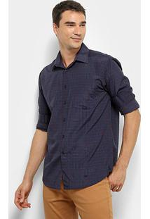 6ed867e772dc ... Camisa Xadrez Manga Longa Watkins&Krown Com Bolso Masculina - Masculino -Azul+Preto