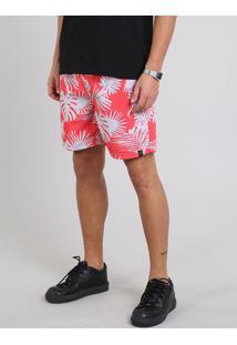 Short Masculino Estampado Tropical Com Cordão Rosa