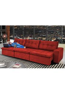 Sofá Austrália 4,12M Retrátil, Reclinável, Molas E Pillow No Assento Tecido Suede Vermelho Cama Inbox