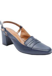 Sapato Chanel Em Couro Com Recortes- Azul Marinho- Sle Rossi