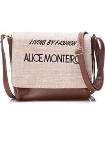 Bolsa Alice Monteiro Com Tampa Frase - Marrom