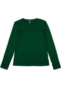Blusa Manga Longa Em Viscose Verde