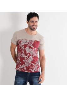 Camiseta Masculina Red Nose Recorte Floral