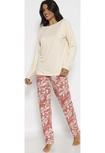Pijama Abstrato - Bege & Vermelholupo