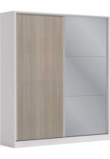 Guarda Roupa Casal Com Espelho 2 Portas 3 Gavetas Premium Kappesberg Branco/Nogueira