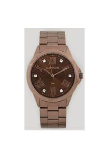 Relógio Analógico Lince Feminino - Lrbj046L N3Nx Marrom