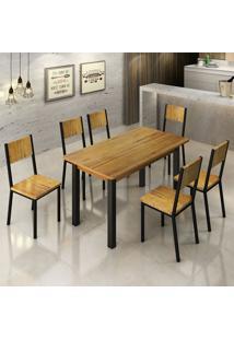 Conjunto De Mesa De Jantar Lizzi I Com 6 Cadeiras Madeira E Preto