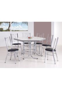 Conjunto De Mesa De Jantar Com 6 Cadeiras Montreal Branco E Preto
