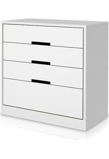 Cômoda Branca S824-Br 3 Gavetas E 1 Gavetão - Kappesberg
