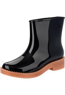 Bota Melissa Rain Drop Boot Ad Preto/Bege
