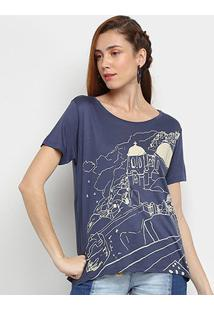 Camiseta Cantão Mikonos Feminina - Feminino-Marinho
