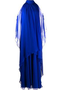 Alberta Ferretti Vestido Frente Única De Seda Com Drapeado - Azul