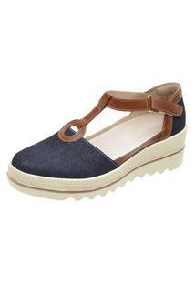 Sandália Plataforma De Couro Jeans