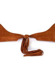 Cinto Morena Rosa Cintura Largo Com Amarracao Caramelo