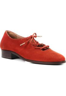 Oxford Couro Shoestock Nobuck Lace Up Feminino - Feminino-Caramelo