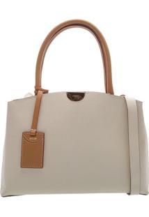 Bolsa Em Couro Com Bag Charm- Off White & Marrom Claro