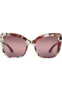 4abcbad513c48 Okulos. Óculos Dolce   Gabbana Dg4348 3194w9 Estampado Lente Rosa Roxo Tam  54