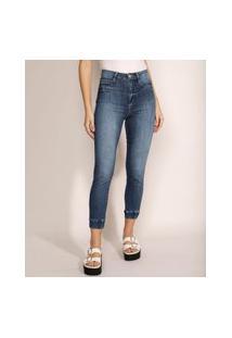 Calça Jeans Feminina Sawary Lipo Jogger Cintura Alta Azul Escuro