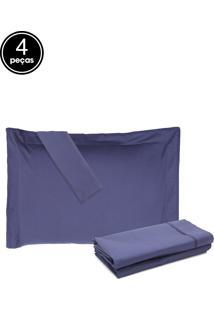 Jogo De Cama 4Pçs King Buddemeyer Basic Premium 200 Fios Azul Escuro