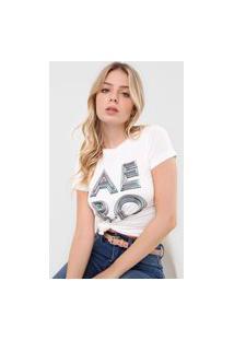 Camiseta Aeropostale Lettering Branca
