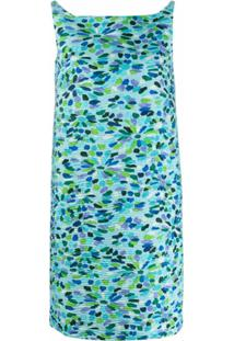 Gianluca Capannolo Vestido Reto Com Estampa Floral - Azul