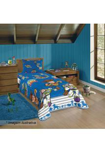 Lepper Edredom Toy Storyâ® Solteiro Azul Escuro & Laranja 150X220Cm