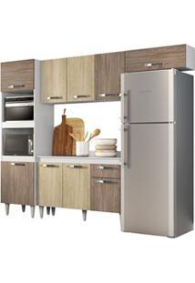 Cozinha Modulada 4 Módulos Composição 2 Branco/Carvalho/Castanho - Lum