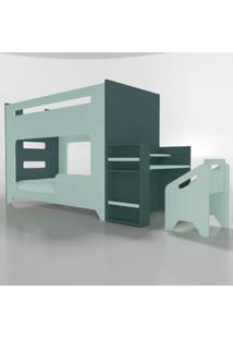 Conjunto Lumi - Beliche+Escrivaninha Verde Timber - Tricae